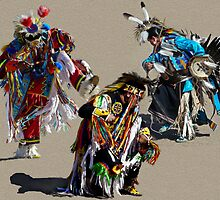 Collage of PowWow dancers by Linda Sparks