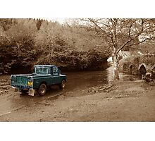 Landrover vs the river Photographic Print