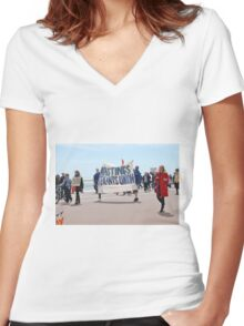 Austerity march, Hastings Women's Fitted V-Neck T-Shirt