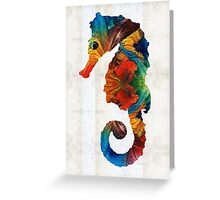 Colorful Seahorse Art by Sharon Cummings Greeting Card
