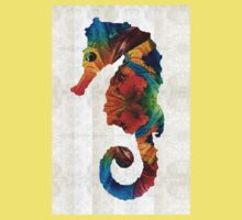 Colorful Seahorse Art by Sharon Cummings Kids Clothes