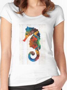 Colorful Seahorse Art by Sharon Cummings Women's Fitted Scoop T-Shirt