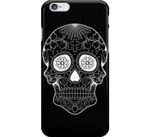 Sugar Skull Tattoo (Day of the Dead) - White Outline iPhone Case/Skin
