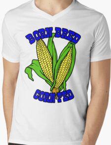 BORN BRED CORN FED (blue) Mens V-Neck T-Shirt