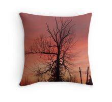evening silouette front yard tree Throw Pillow