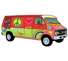 Peace and love van Photographic Print