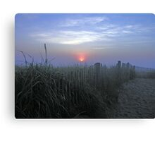 Dune Fence at Sunrise Canvas Print