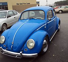 Blue Old style VW Beetle by JennFamousArt