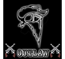 Outlaw with Skull and Guns Photographic Print