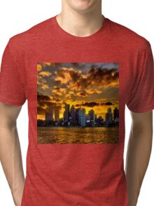 Sunset over Boston Harbor Tri-blend T-Shirt
