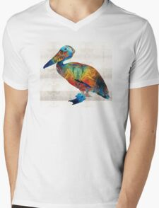Colorful Pelican Art By Sharon Cummings Mens V-Neck T-Shirt