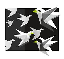 Black and White Paper Cranes by XOOXOO