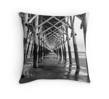 Isle of Palms Pier Muted Throw Pillow