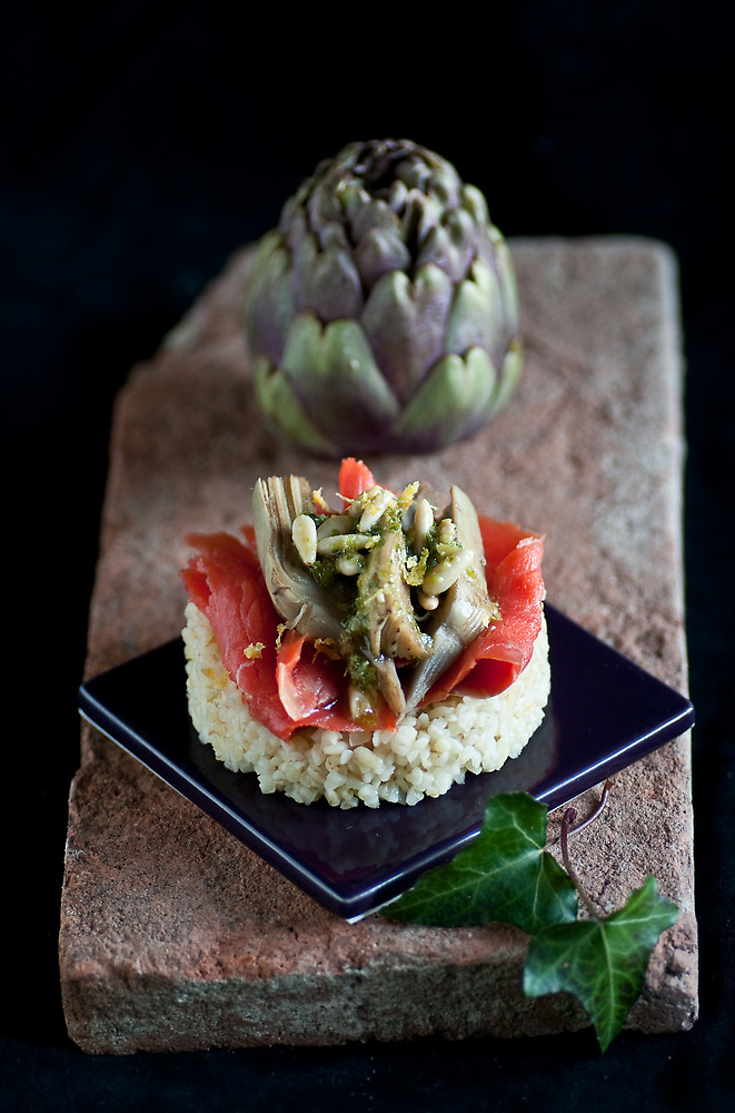 Smoked Salmon and Artichokes with Basil, Pinenut and Lemon Sauce by Ilva Beretta