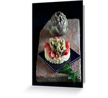 Smoked Salmon and Artichokes with Basil, Pinenut and Lemon Sauce Greeting Card