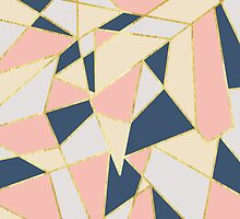 Girly Geometric Triangles with Faux Gold by Blkstrawberry