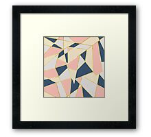 Girly Geometric Triangles with Faux Gold Framed Print