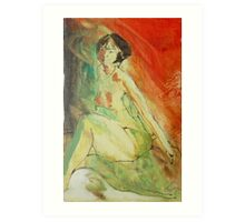 Jenny in Red & Green Art Print
