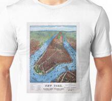 New York Vintage Aerial views Restored 1879 Unisex T-Shirt