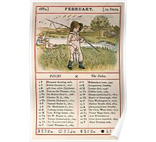 Kate Greenaway Almanack 1880 0008 February Poster