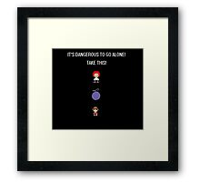 One Piece Dangerous to go Alone Framed Print