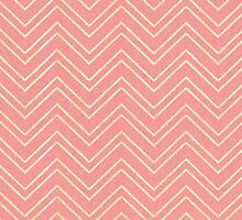 Coral Pink & Faux Gold Zigzag Chevron Pattern by Blkstrawberry