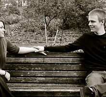 Joby and Olivia on the park bench by mimi5355