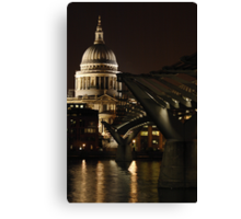 Night shot of St Pauls Cathedral and the Millenium Bridge Canvas Print