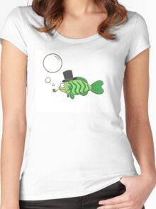 Fish in a hat. Women's Fitted Scoop T-Shirt