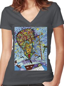 Picasso's Brain Women's Fitted V-Neck T-Shirt