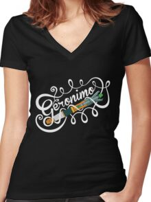 Doctor Who Geronimo! Women's Fitted V-Neck T-Shirt