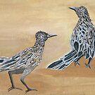 Ain't Life Grand ~ Roadrunner Pair ~ Oil Painting by Barbara Applegate