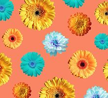 Summery Flowers on Cadmium Orange Background by Blkstrawberry
