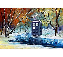 Winter British Blue phone box painting Photographic Print