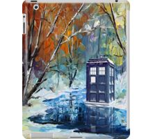 Winter British Blue phone box painting iPad Case/Skin