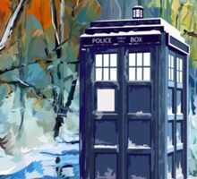 Winter British Blue phone box painting Sticker