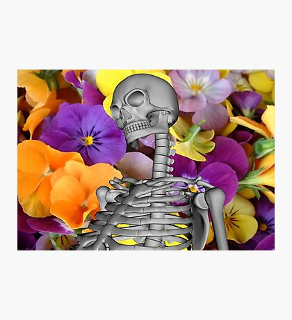 Skeleton  with Flowers Photographic Print