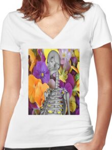Skeleton  with Flowers Women's Fitted V-Neck T-Shirt