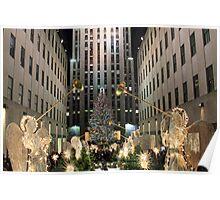Christmas angels herald the Rockefeller tree Poster