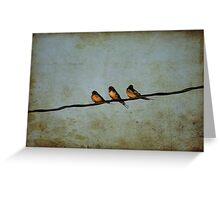 Three On A Wire Greeting Card