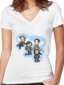 angels and hunters Women's Fitted V-Neck T-Shirt