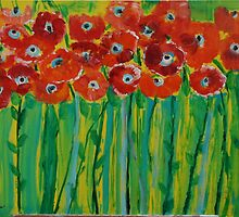 Red Poppies with Stripes by Christine Clarke