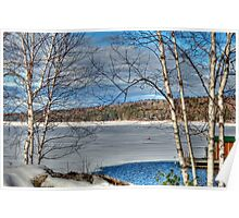 Scenic Views of Lake Sunapee in Winter Poster