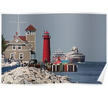 Coast Guard and Lighthouse Muskegon Michigan Poster