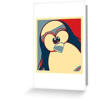 Linux Tux Obama poster red blue  Greeting Card