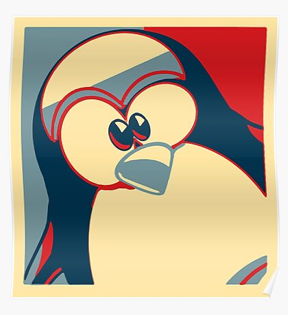 Linux Tux Obama poster red blue  Poster