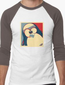 Linux Tux Obama poster red blue  Men's Baseball ¾ T-Shirt