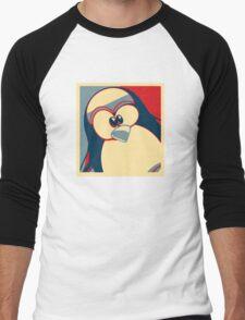 Linux Tux Obama poster red blue  Men's Baseball ¾ T-Shirt