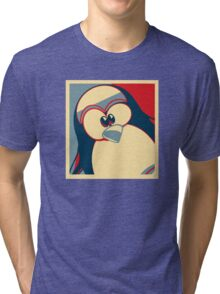 Linux Tux Obama poster red blue  Tri-blend T-Shirt