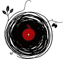 Spinning vinyl, Bird Nest, Grunge Design Photographic Print